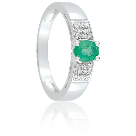 Bague Lysa Or Blanc, Emeraude & Diamant