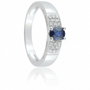 Bague Lysa Or Blanc, Saphir & Diamant
