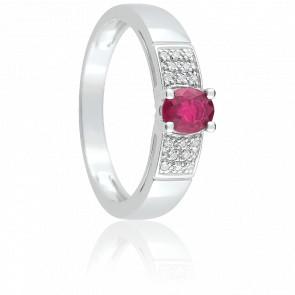 Bague Lysa Or Blanc, Rubis & Diamant