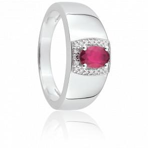 Bague Sophia Or Blanc, Rubis & Diamant