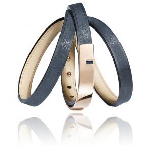 Bracelet U-Turn Triple Cuir Irisé Saphir