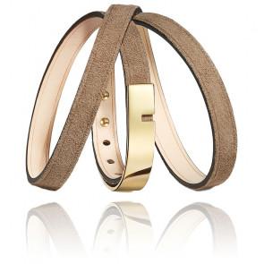 Bracelet U-Turn Triple Cuir Irisé Noisette Finition Doré