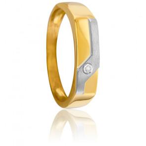 Chevalière Vague Diamant 0,006 ct & 2 Ors 18K