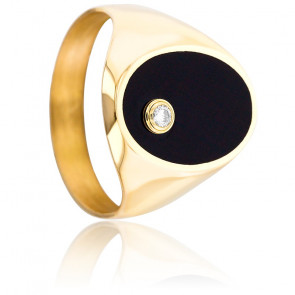 Chevalière Onyx, Diamant 0,05 ct & Or Jaune 18K