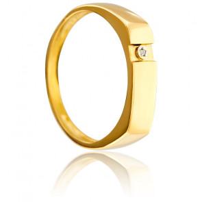Chevalière Diamant 0,006 ct & Or jaune 18K