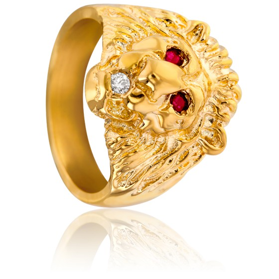 Chevalière Lion Rubis, Diamant & Or Jaune 18K
