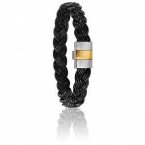 Bracelet 604P/2 Cuir Tressé Noir, Acier & Or Jaune 18K
