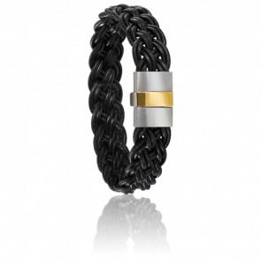 Bracelet 604/2 Plat Cuir Noir, Acier & Or Jaune 18K