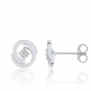 Boucles d'Oreilles Clous 2 Arcs Diamant & Or Blanc 9 K