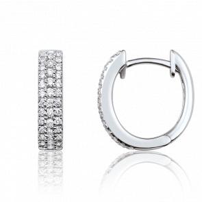 Créoles or blanc 18 carats & pavages de diamants