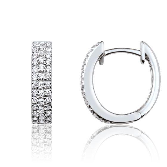 87a0c28fc5ecb Créoles or blanc 18 carats   pavages de diamants - Joelli - Ocarat