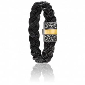 Bracelet 604/2 Cuir Tressé Noir, Acier Gravé & Or Jaune 18K