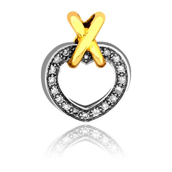 Pendentif Coeur & Croisillon, Diamants & Or Jaune 18K