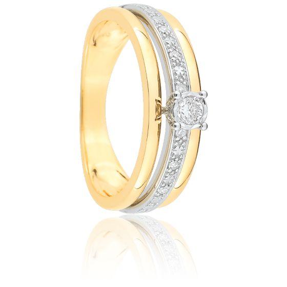 bague or blanc jaune diamant