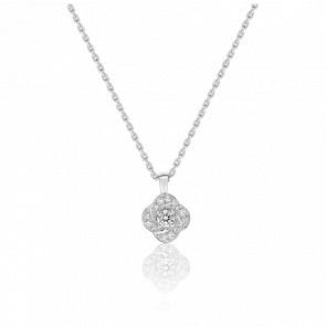 Collier Rose Or Blanc 18K & Diamants