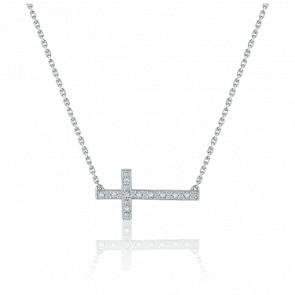Collier Croix Or Blanc 18K & Diamants