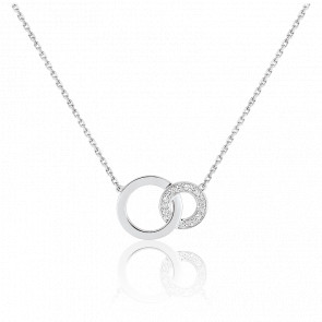 Collier Cercles Infini Or Blanc 18K & Diamant