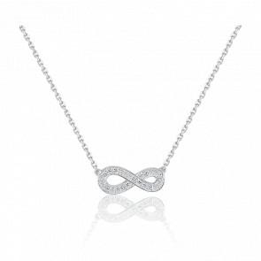 Collier Infini Or Blanc 18K & Diamants