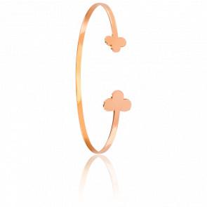 Bracelet Demi-Jonc Trèfles Plaqué Or Rose