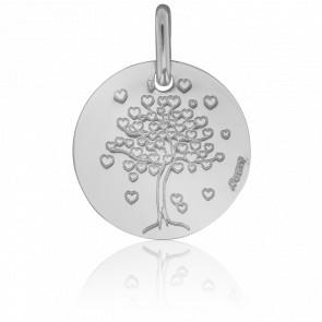 Médaille Arbre de Vie Cœur Or Blanc 18K