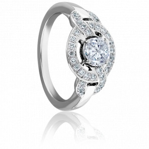 Bague Rose des Vents Diamants FVVS & Or Blanc 18K