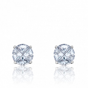 Boucles d'Oreilles Rose des Vents Or Blanc & Diamants 0,70ct