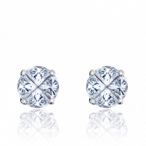 Boucles d'Oreilles Rose des Vents Diamants 1,40ct & Or Blanc 18K