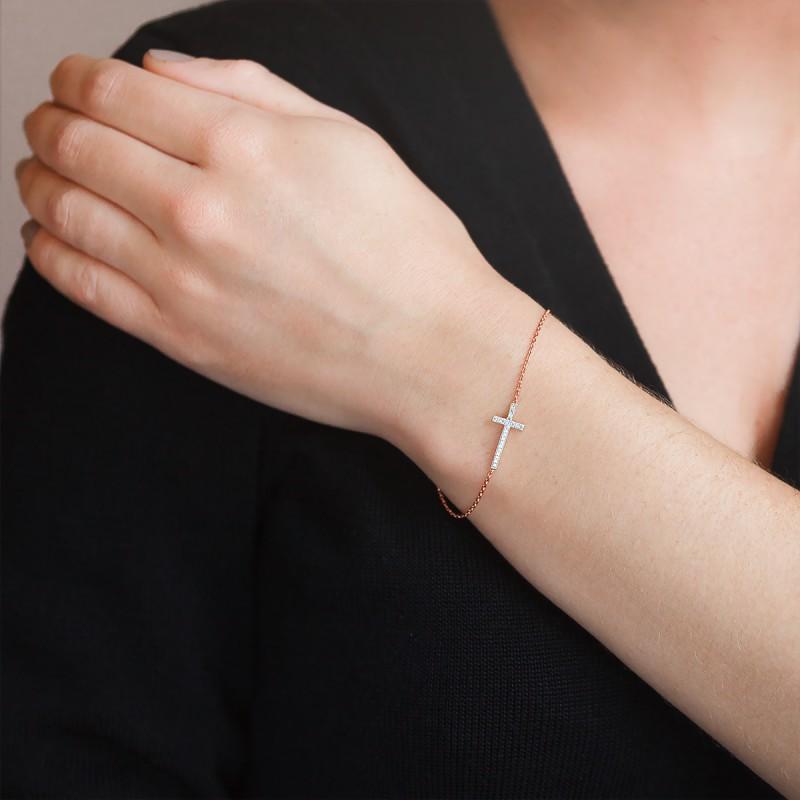 bracelet croix or rose 18k diamants joelli ocarat. Black Bedroom Furniture Sets. Home Design Ideas
