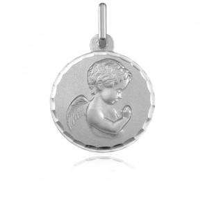 Médaille Ronde Ange en Prière Facetté Or Blanc 9K