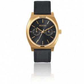 Time Teller Deluxe Leather Gold / Black Sunray A927-1604