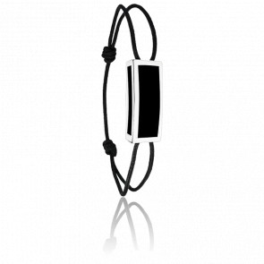 Bracelet Rectangle Noir & Argent Cordon
