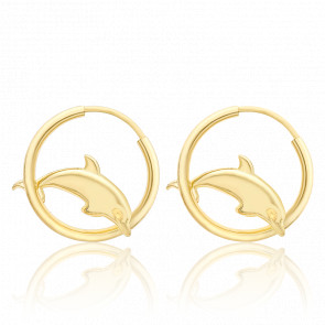 Créoles dauphin en or jaune 9 carats