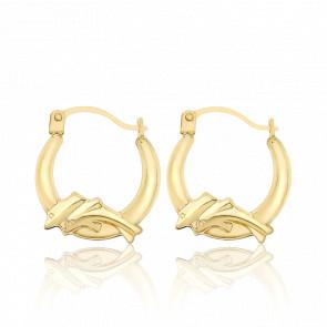 Boucles d'oreilles créoles dauphins, or jaune 9 carats