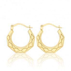 Créoles or jaune 9 carats, motifs géométriques