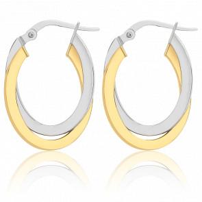 Créoles or jaune & or blanc 9 carats, anneaux entrelacés