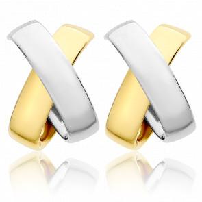 Créoles or jaune & or blanc 9 carats