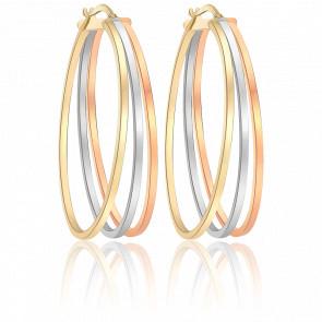 Boucles d'oreilles créoles ovales, 3 ors 9K, fils carrés