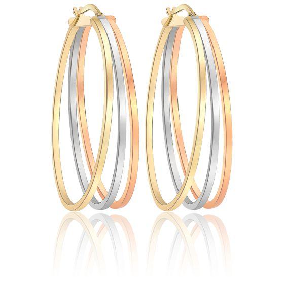 grand choix de b20a4 85e8a Boucles d'oreilles créoles ovales, 3 ors 9K, fils carrés - Ocarat