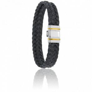 Bracelet 698 Crin de Cheval Noir, Acier & Or Jaune 18K