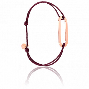 Bracelet Figaro Vermeil Rose Cordon Bordeaux