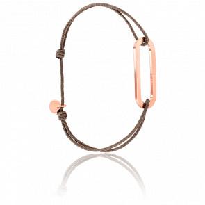 Bracelet Figaro Vermeil Rose Cordon Taupe