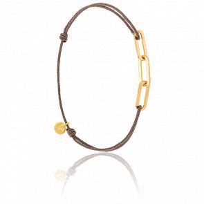 Bracelet Figaro 3 Anneaux Vermeil Jaune Cordon Marron