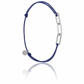 Bracelet Figaro 3 Anneaux Argent Cordon Bleu
