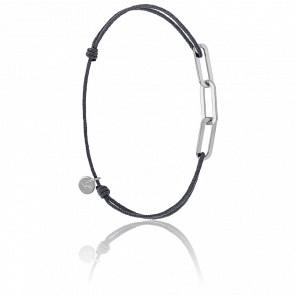 Bracelet Figaro 3 Anneaux Argent Cordon Gris