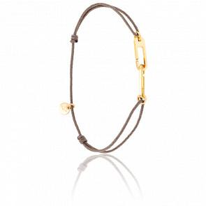 Bracelet Osmose Vermeil Jaune Cordon Taupe