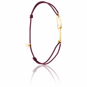 Bracelet Osmose Vermeil Jaune Cordon Bordeaux