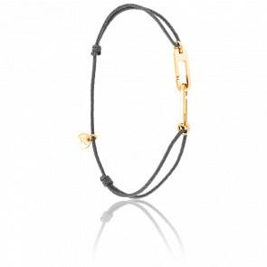 Bracelet Osmose Vermeil Jaune Cordon Gris