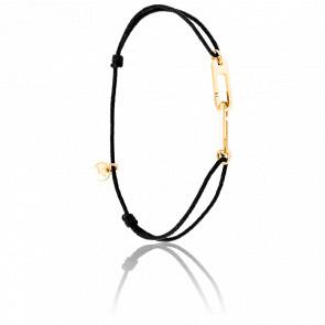 Bracelet Osmose Vermeil Jaune Cordon Noir
