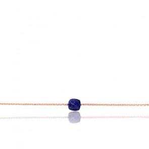Bracelet Chaîne Lapis Lazuli Plaqué Or Rose