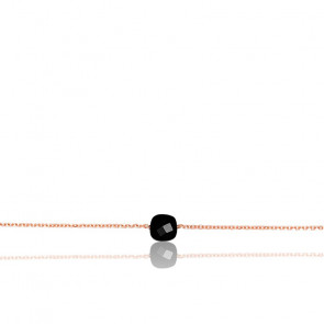 Bracelet Chaîne Onyx Plaqué Or Rose